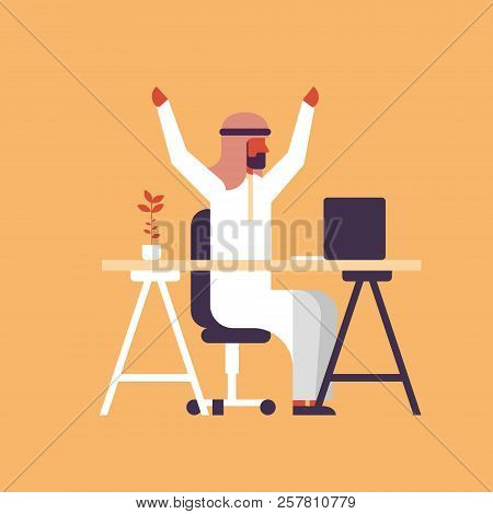 Arabic Businessman Sitting Office Table Workplace Successful Working Strategy Concept Arab Man Raisi