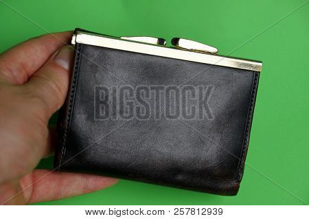 Brown Leather Purse In Hand On A Green Background