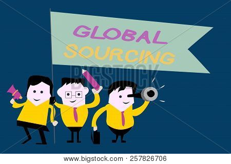 Text sign showing Global Sourcing. Conceptual photo practice of sourcing from the global market for goods poster