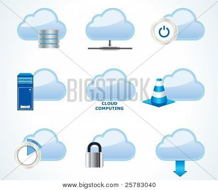 Vektor Cloud computing-Icon-set