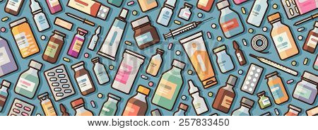 Medicine, Pharmacy Banner. Medications And Pills Background. Vector Illustration