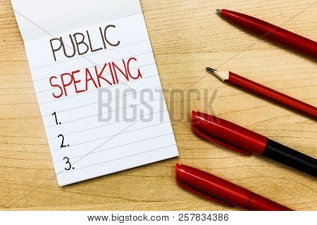 Conceptual Hand Writing Showing Public Speaking. Business Photo Text Talking People Stage In Subject