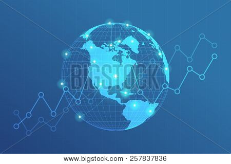 Global Network Lines Connection. World Map Point With Dots Connection Concept Of Global Business Bac