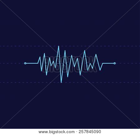 Heart Beat Pulse Line Graphic Vector Illustration In Dark Blue Background