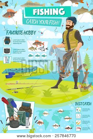 Sport Fishing Poster With Fisherman Holding Net With Fish. Equipment For Hiking And Camping, Backpac