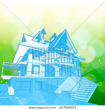 A modern house on a green background surrounded by digital networks - an illustration of a smart eco-friendly home - the concept of modern information technology smart house or smart city