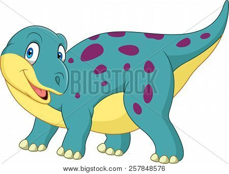 Vector Illustration Of Cartoon Happy Dinosaur On White Background