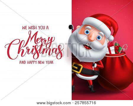 Santa Claus Vector Character Holding Gifts With Merry Christmas Greeting In White Empty Space For Ch