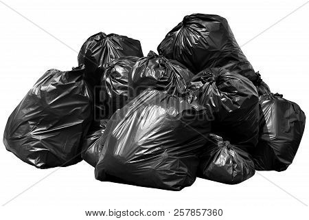 Bin Bag Garbage, Bin,trash, Garbage, Rubbish, Plastic Bags Pile Isolated On Background White