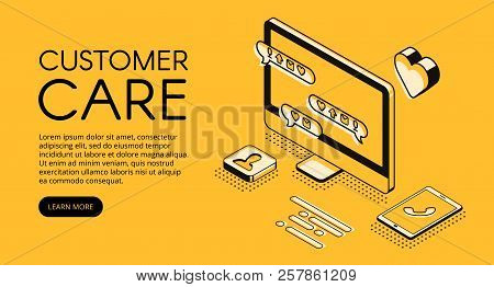 Customer Care And Online Service Vector Illustration. Call Center Assistant Or Business Company Mana