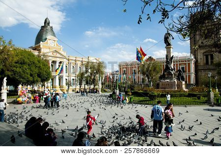 La Paz, Bolivia - September 6, 2014: The Plaza Murillo Is The Central Plaza Of The Political Life Of