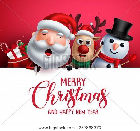 Merry Christmas Greeting Template  With Santa Claus, Snowman And Reindeer Vector Characters Singing