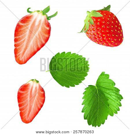 Collection Of Strawberries With Leaf Isolated On White