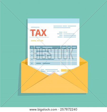Invoice In An Open Envelope. Unfilled, Minimalistic Form Of The Document. Payment And Invoicing, Bus