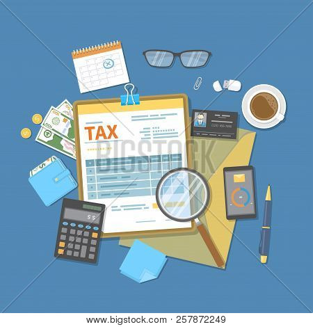 Tax Payment. Government, State Taxes. Payment Day. Tax Form On A Clipboard, Financial Calendar, Mone