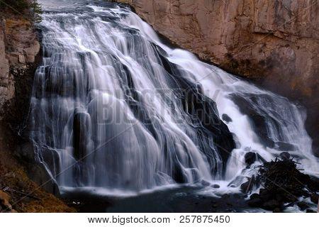 Cascade waterfall down rocks smooth water water falls