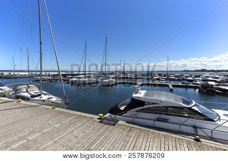 Sopot, Poland - June 6, 2018: Wooden Sopot Pier In Sunny Day, Port For Boats.  It Is The Longest Woo