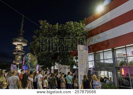 Thessaloniki, Greece - September 10 2018: Visitors Of 83rd International Fair Outside A Pavilion. Ni