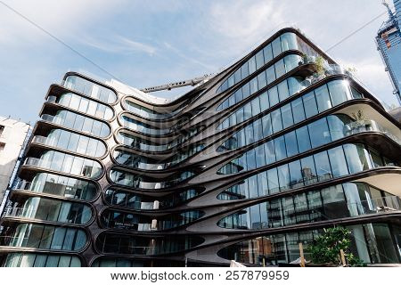 New York City, Usa - June 22, 2018: Low Angle View Of  Condominium Residences, A Modern Building Des