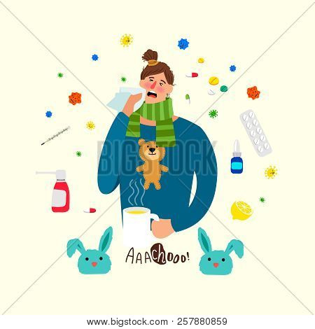 Cartoon Ill Woman. Sick Female Person With Cold And Flu, Girl With Heat Illness, Medications And Hea