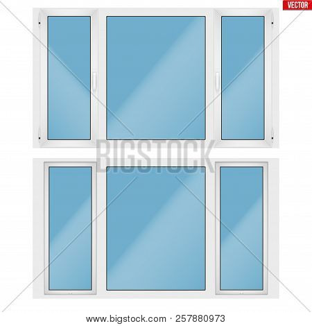 Set Of Metal Plastic Pvc Window With Three Sash And Two Opening Casement. Indoor And Outdoor View. P