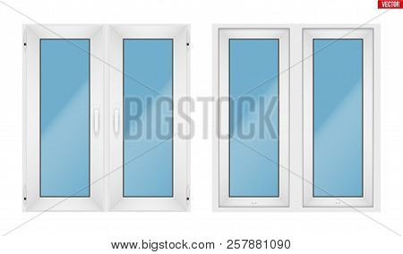 Set Of Metal Plastic Pvc Window With Two Sash And Opening Casement. Indoor And Outdoor View. Present
