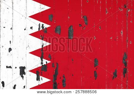 National Flag Of Bahrain On The Background Of An Old Mettale Covered With Peeling Paint
