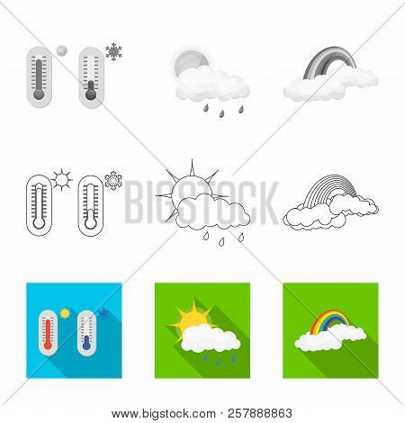 Vector Design Of Weather And Weather Sign. Set Of Weather And Application Stock Symbol For Web.