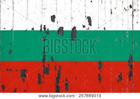 National Flag Of Bulgaria On The Background Of An Old Mettale Covered With Peeling Paint