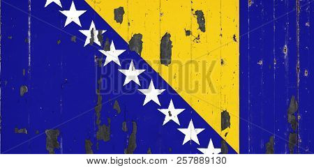 National Flag Of Bosnia Herzegovina On The Background Of An Old Mettale Covered With Peeling Paint
