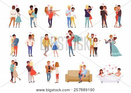 Young Men And Women Characters In Love Hugging Set, Happy Romantic Loving Couples Cartoon Vector Ill