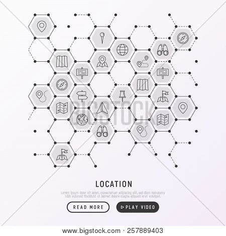 Location Concept In Honeycombs With Thin Line Icons: Pin, Pointer, Direction, Route, Compass, Wall N