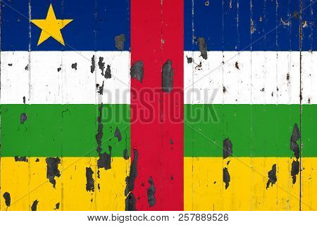 National Flag Of Central African Republic On The Background Of An Old Mettale Covered With Peeling P