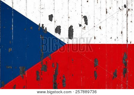 National Flag Of Czech Republic On The Background Of An Old Mettale Covered With Peeling Paint