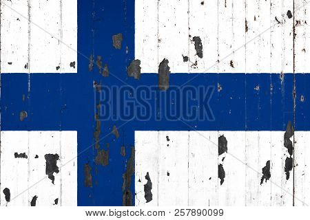 National Flag Of Finland On The Background Of An Old Mettale Covered With Peeling Paint
