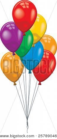 Group of different colored balloons on strings