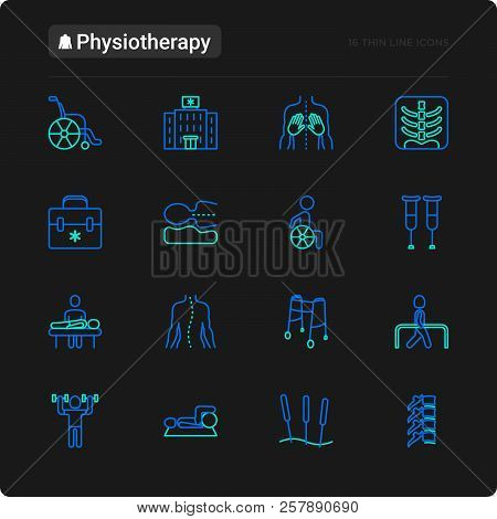 Physiotherapy Thin Line Icons Set: Rehabilitation, Physiotherapist, Acupuncture, Massage, Go-carts,