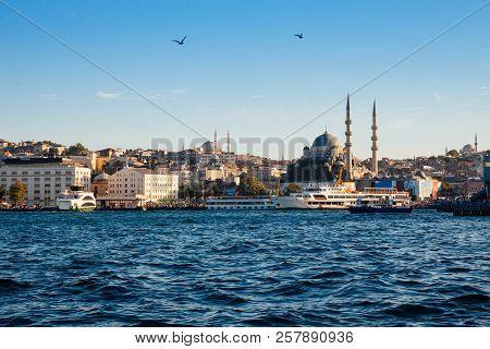 Beautiful View Of Istanbul Skyline At Sunset, Turkey