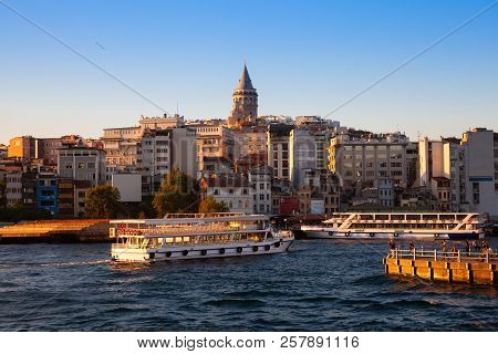 Galata Tower And Golden Horn At Sunset, Istanbul, Turkey