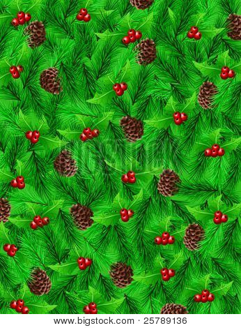 Vector Illustration 10x13 Background of Holly, Pinecones and Pine Needles