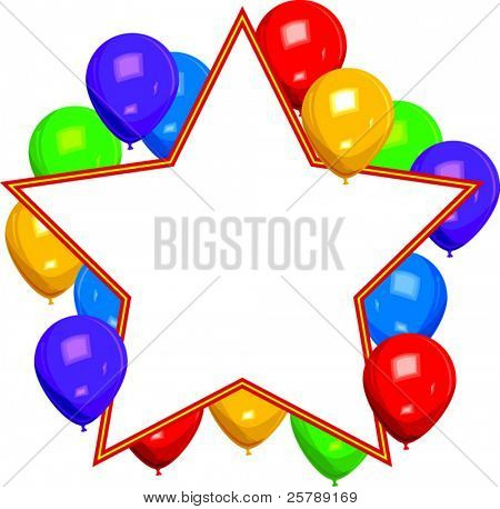Vector Illustration of a Star with Balloons Burst