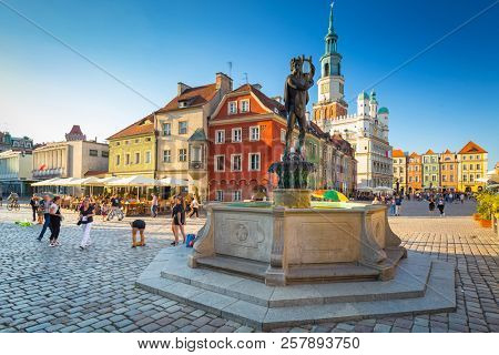 Poznan, Poland - September 8, 2018: Old market square with Apollo fountain in old town of Poznan, Poland. Poznan is a city at the Warta River in west central Poland