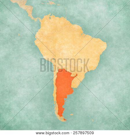 Argentina On The Map Of South America In Soft Grunge And Vintage Style, Like Old Paper With Watercol