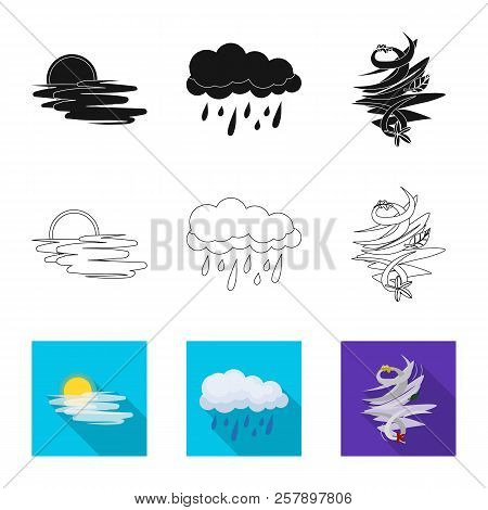 Vector Illustration Of Weather And Weather Symbol. Set Of Weather And Application Vector Icon For St