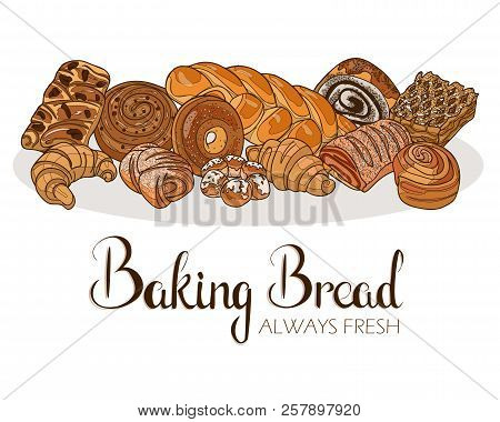 Decor For A Shop Or Cafe With Pastries, Bread, Baking. Bakery Store, Bread House, Handwritten Illust