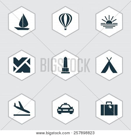 Journey Icons Set With Suitcase, Tent, Monument And Other Airship Elements. Isolated  Illustration J
