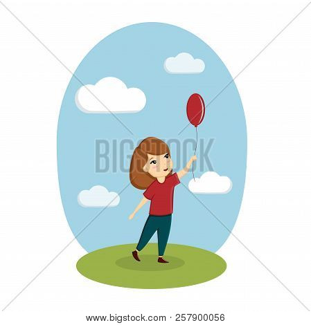 A Girl Is Playing With A Balloon On The Street. Image, Vector, Illustration, Template.