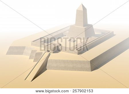 Anscient Temple Of Abu Gorab Ruined Egypt 3d Illustration