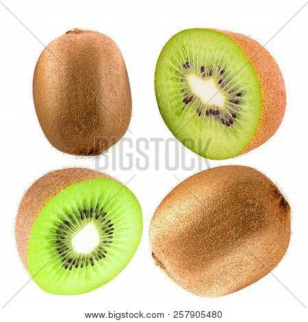 Collection Of Kiwi Fruit Isolated On White