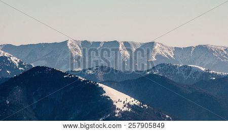 View To Nizke Tatry Mountain Range (velka Chochula, Mala Chochula And Prasiva Hills)  With Velka Fat